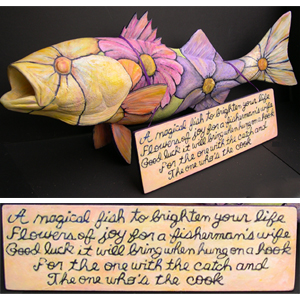 "In 2011, the Cultural Center of Cape Cod asked 25 Cape artists to transform a 34-inch fiberglass striped bass into their own work of art. Kathi wrote this poem and created her ""Magical Fish"". After being on display at various Cape Cod locations, the fish were auctioned and close to $20,000 was raised for the new educational wing of the Cultural Center of Cape Cod."