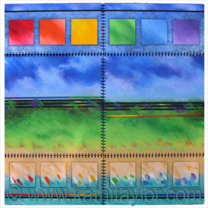 "Winner of Honorable Mention 2013 Juried Abstract Exhibit Falmouth Artists Guild Juried by Kate Nelson who wrote ""The innovative format, the bold primary colors, the use of varying texture and directional brushstrokes all contrast in an adventuresome way with the repeated element of the simple square."""