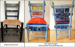 "Poem and Chair Art created by Kathi Taylor for the ""Sitting Pretty"" fundraiser, November 2013. The chair will be auctioned to raise money for Orleans Branch of the Cape Cod Hospital Auxiliary. Auction is being held at the Cultural Center of Cape Cod, November 16, 6 to 8 PM."